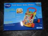 First Steps Baby Walker (Vtech) and Soft chair with tray (Karibu)