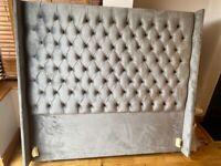 King size grey plush velvet head board (brand new)
