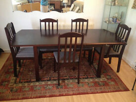 Dining table (extendable) + 5 chairs. £60