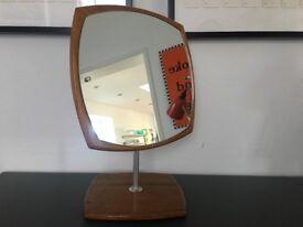Vintage Atomic Danish Style Vanity Mirror 1960s Atomic Steel Teak Rare
