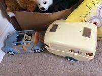 Sylvanian families car and caravan