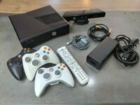 Xbox 360 with Kinect + 3 Controllers + 1 Controller battery pack + Remote