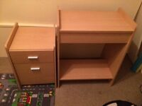 Beech effect computer desk and filing cabinet