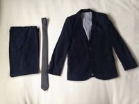 Boys M&S Autograph navy linen suit and tie (age 9-10 years)