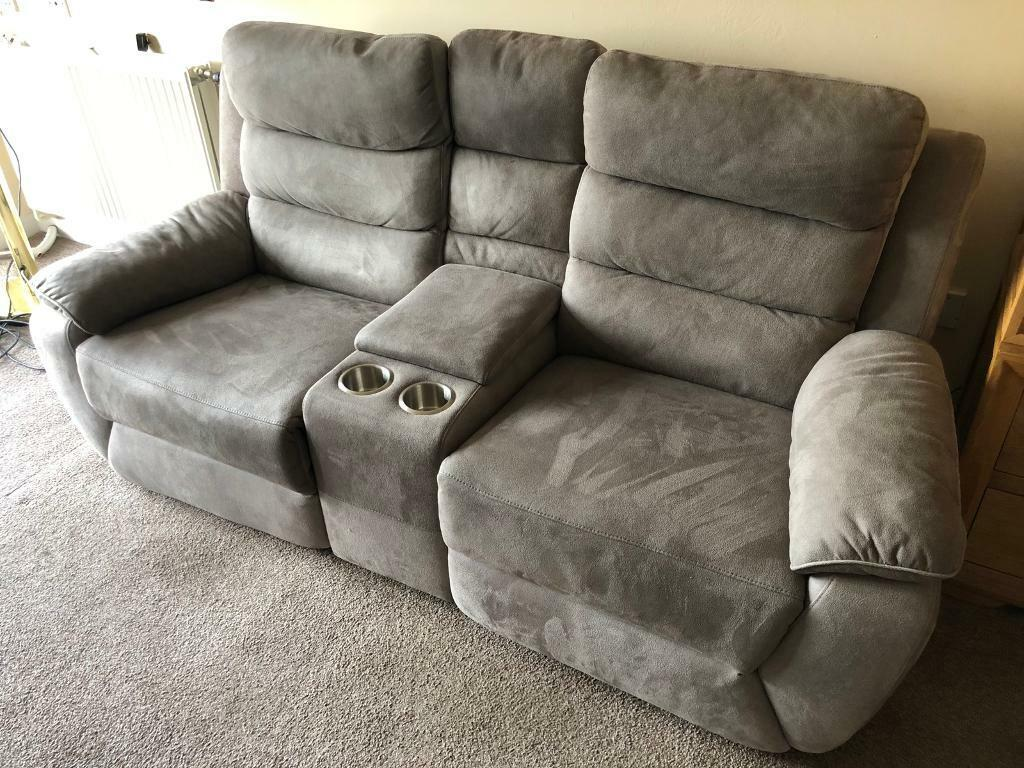 Grey Two Seat Electric Recliner Sofa
