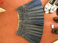 size 10 heavy denim short pleated Burberry skirt has been shortened professionally sits mid thigh