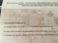 A champagne tea for 2 at a Warner Leisure Hotel Mothers Day Gift