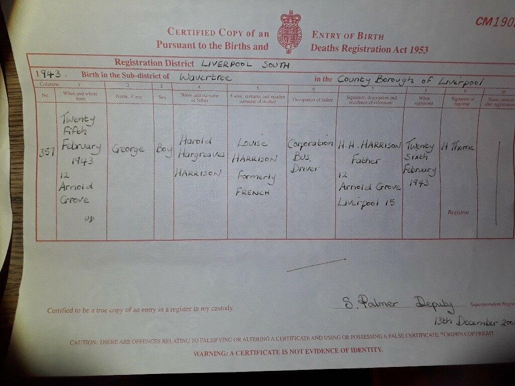 The beatles birth certificates george ringo john and paul in image 1 of 2 aiddatafo Choice Image
