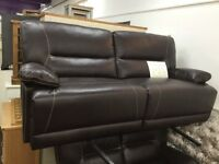 New!! Brown Leather 3 + 2 Seater Manual Recliner Sofa's