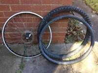 """26"""" front bike wheel with tyre and inner tube"""