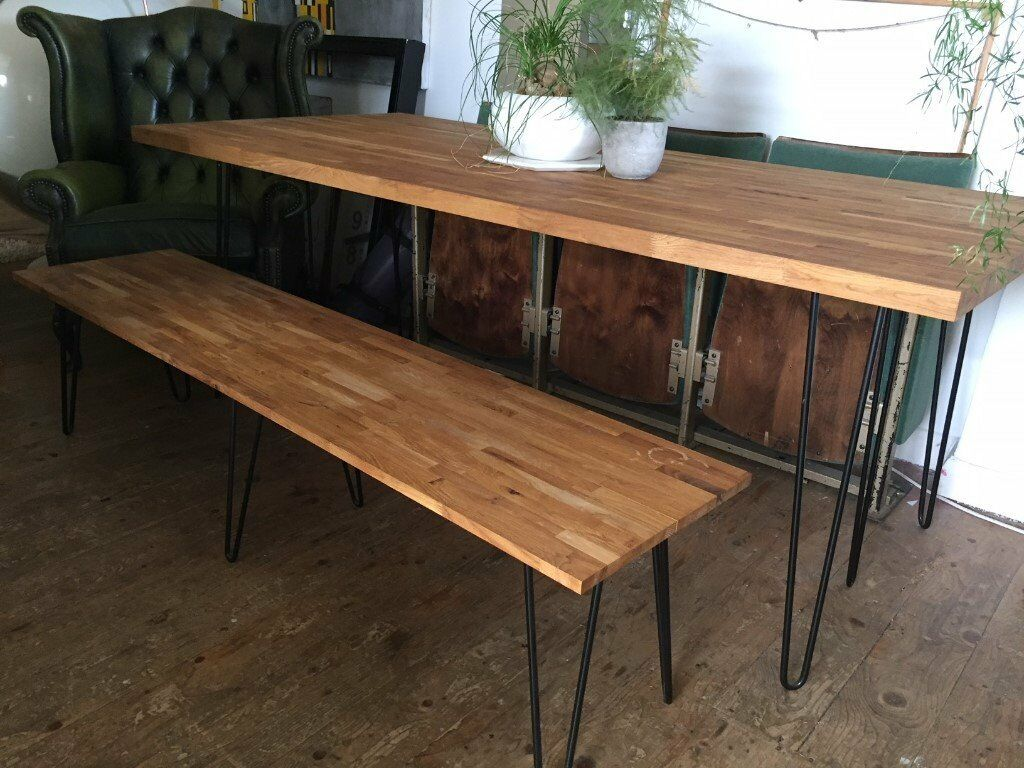MidCentury Oak Dining Table With Hair Pin Legs In Hackney London - Mid century oak dining table