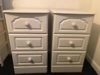 Pair of white 3 drawer bedside tables