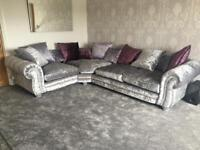 CRUSHED VELVET SOFA WITH LARGE FOOT STOOL