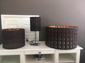 Set of black &bronze lampshades and lamp from Ikea.