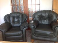 Free for collection - pair of dark green leather armchairs