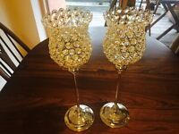 2 x Crystal beaded silver hurricane candle holders for wedding centrepieces