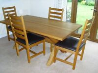 HEALS OAK DINING TABLE & 4 CHAIRS