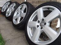 "Genuine alloys 18"" audi a4 5x112 new tyres !!"