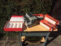 Aldis Vintage SN12 Slide Projector with slide tacks and storage case for slides