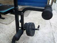 Benchpress, and dumbells with 75kg of weights