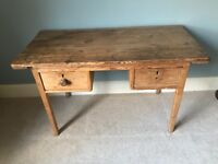 Victorian Antique Pine Desk, Office / console Table and 2 draws