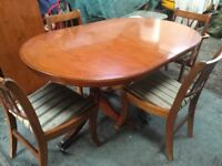 Dining Table And Four Chairs, Yew extendable