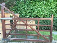 5 Bar curved solid wood gates and pedestrian gate