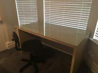 Office / bedroom desk with glass top & chair