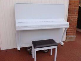 WEBBER OVER STRUNG PIANO PAINTED LIGHT BLUE SHABBY INC STOOL £299