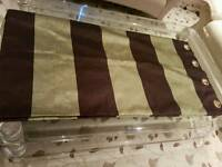 brand new very beautiful designer green & brown silk stripe curtains (72 X 90 inches)