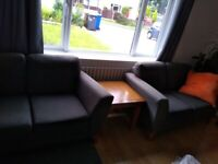 Two 2-seater sofas in grey