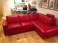 Red corner sofa bed