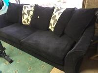 DFS large 3 seater sofa, black fabric