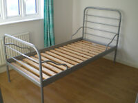 IKEA single metal frame bed in silver colour