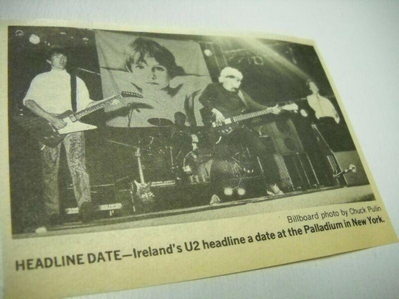 U2 on stage at the Palladium in New York City 1981 music biz promo pic/text