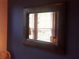 Large leather effect wall mirror