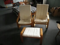 2 Ikea Poany Chairs and footstool £25