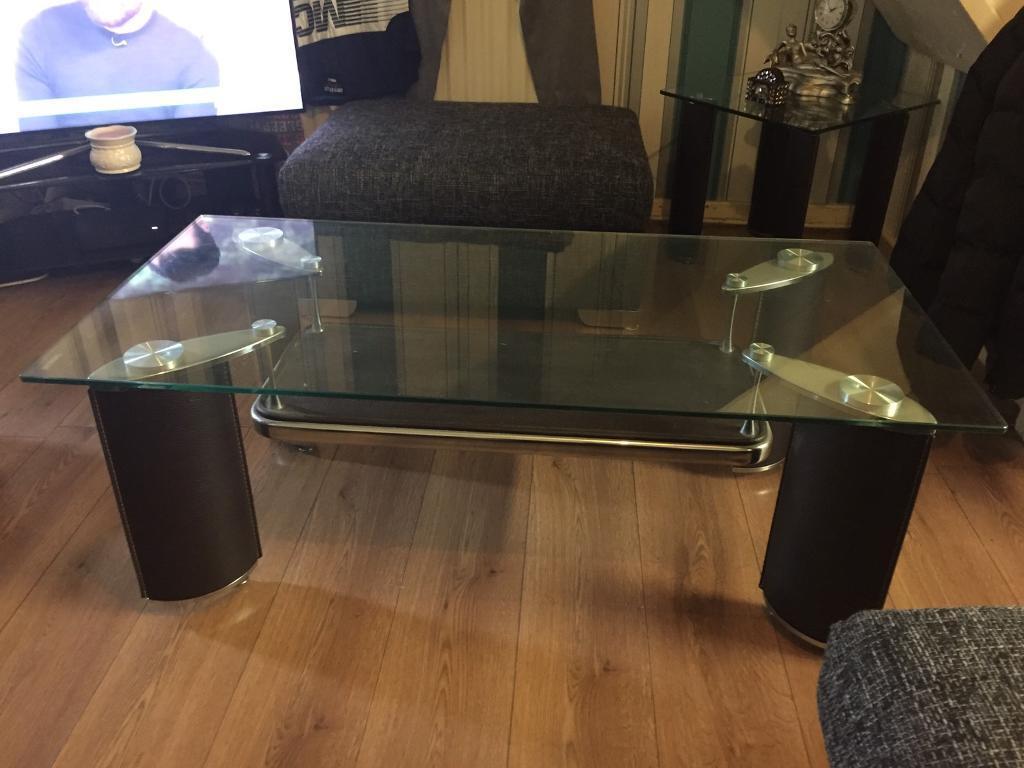 Dfs Brown Leather Glass Coffee Table In Walton Merseyside Gumtree