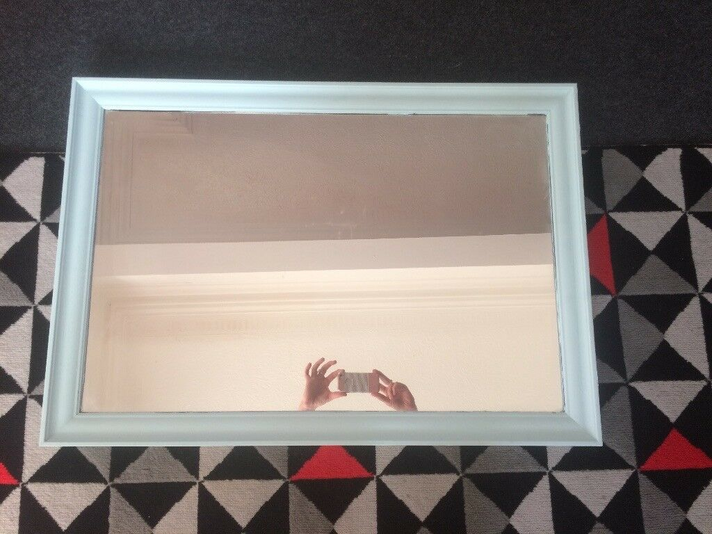 Blue painted mirror