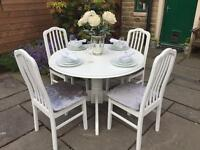 Shabby Chic Round Dining Table & 4 Chairs Upholstered in Silver Grey Crushed Velvet