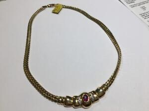 #134 14K LADIES YELLOW GOLD NECKLACE 16.5 IN LENGTH WITH NATURAL RUBY! APPRAISED FOR $5150.00 SELLING FOR $1595!