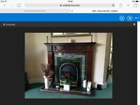 Dark wood Adam style fire surround