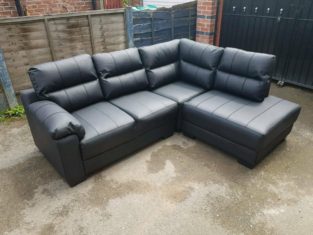 big sale ac4a0 114d1 Wyvern black leather corner sofa set | in Longsight, Manchester | Gumtree