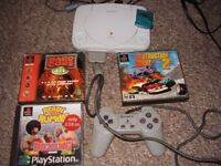 PLAYSTATION ONE WITH 3 TOP GAMES