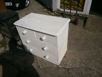 victorian small painted pine chest of drawers ideal upcycle / shabby chic in yeovil