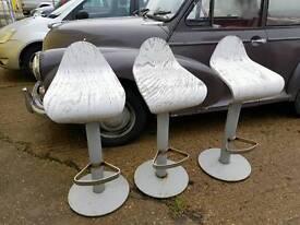 Three original art deco kitchen chairs