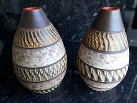 Studio Pots matching pair £15 stamped and numbered 10 x 4 inch