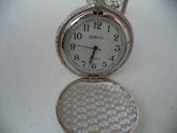 NEW silver pocket quartz watch