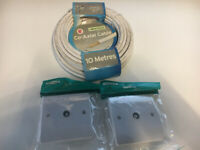 10m Co-axial Cable / 2x Co-axial wall plates