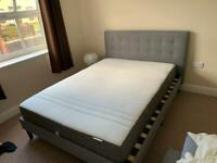 GREY Double bed with IKEA mattress - Used